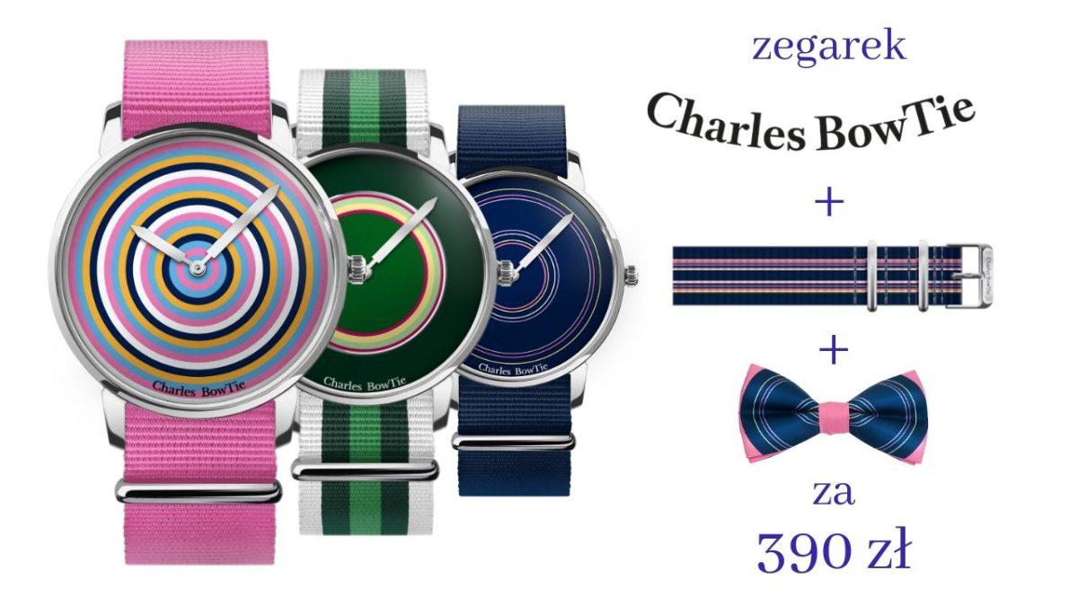 kolorowe zegarki Charles BowTie wraz z paskiem i muszką w cenie 390 zł
