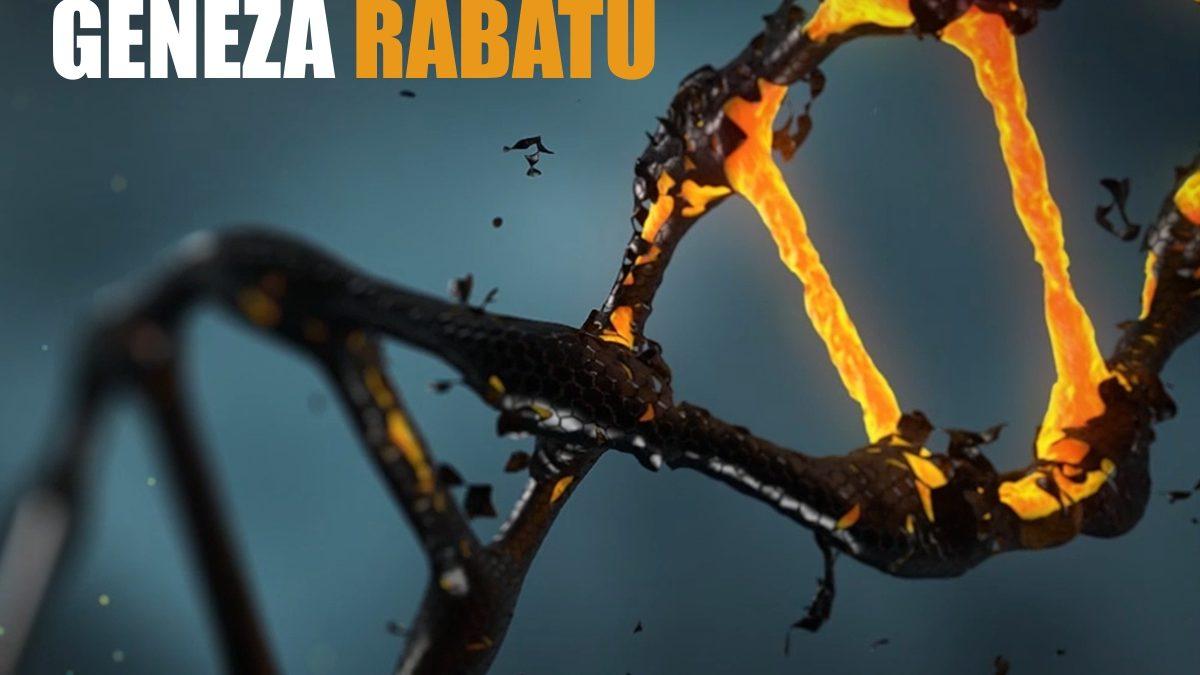 rozpadający się kod DNA i napis GENEZA RABATU